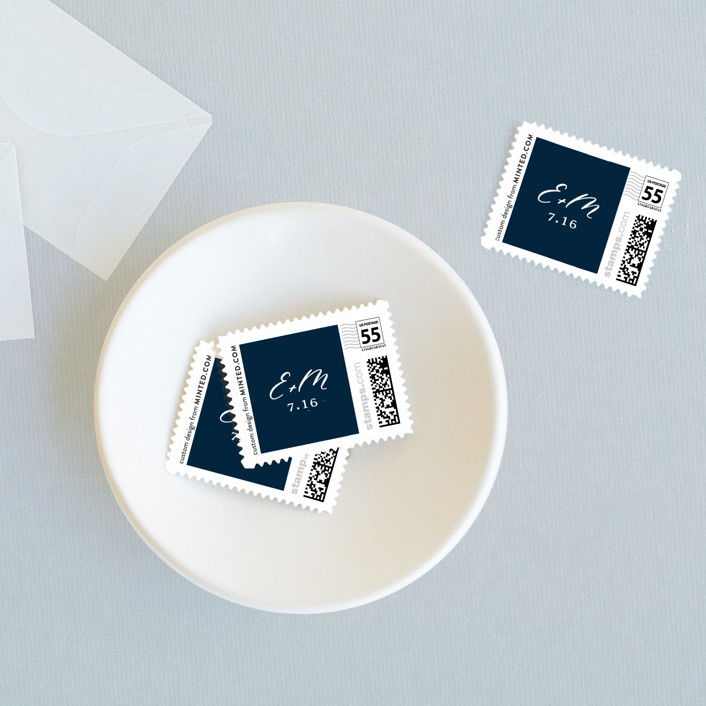 """""""Corinthian"""" - Classical, Minimalist Wedding Stamps in Snow by Little Words Design."""