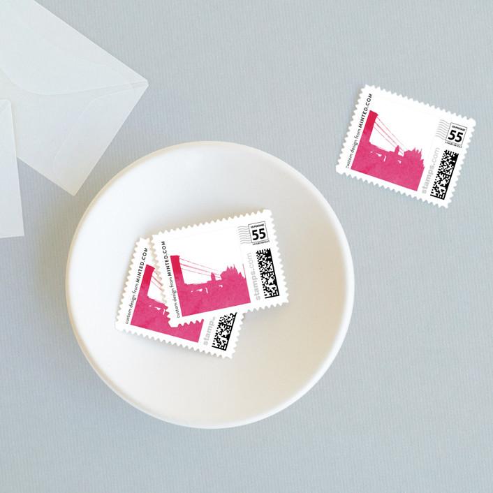 """Skyline -New York"" - Modern Wedding Stamps in Magenta by Laura Condouris."