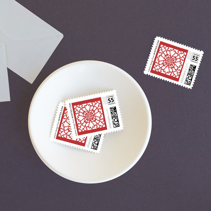 """Double Happiness Screen"" - Modern Wedding Stamps in Carmine by Phoebe Wong-Oliveros."