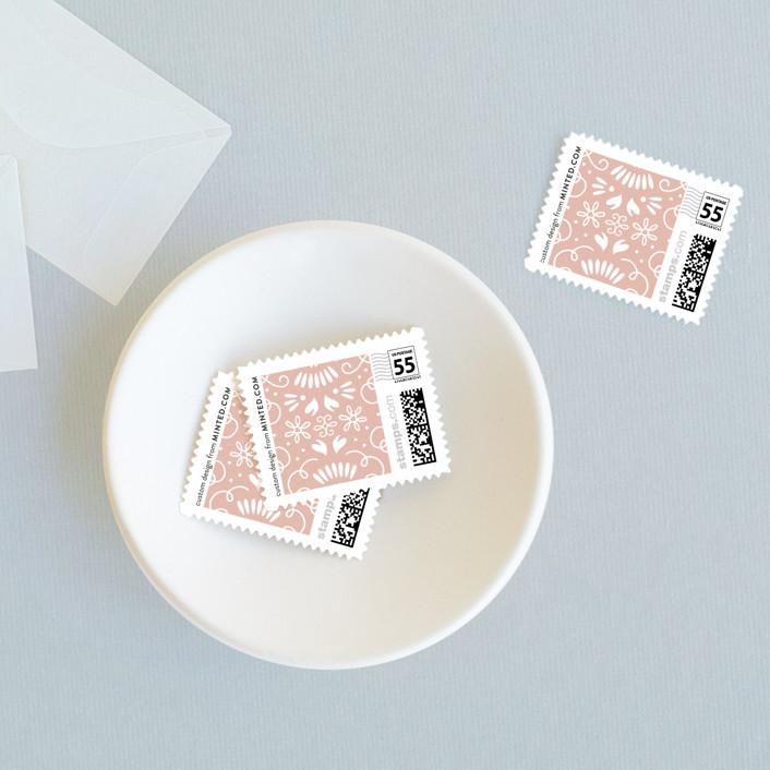 """Flora Frame"" - Floral & Botanical Wedding Stamps in Graphite by Laura Hankins."