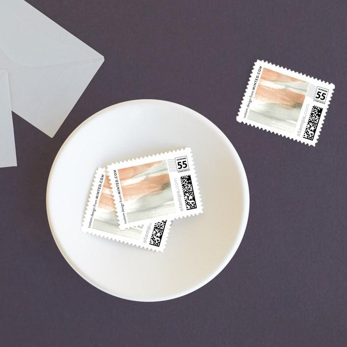 """Canyon"" - Bohemian, Modern Wedding Stamps in Sienna by Kelly Nasuta."