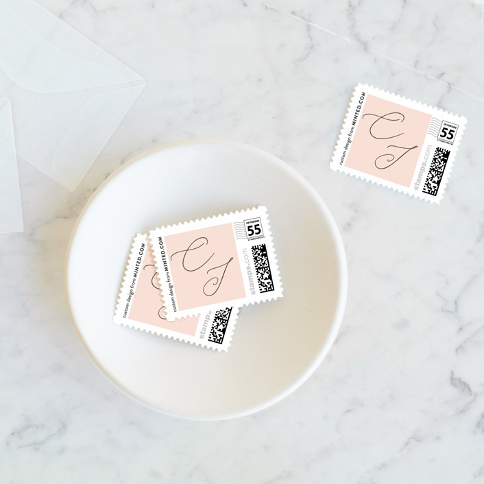 """Bare"" - Wedding Stamps in Blush by Kelly Nasuta."