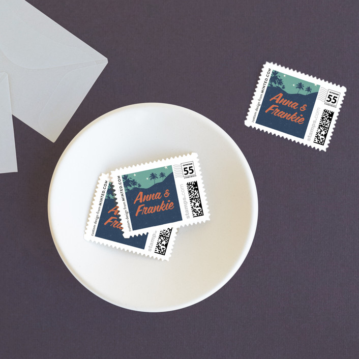 """""""Retro Hawaii"""" - Wedding Stamps in Midnight Blue by Coco and Ellie Design."""