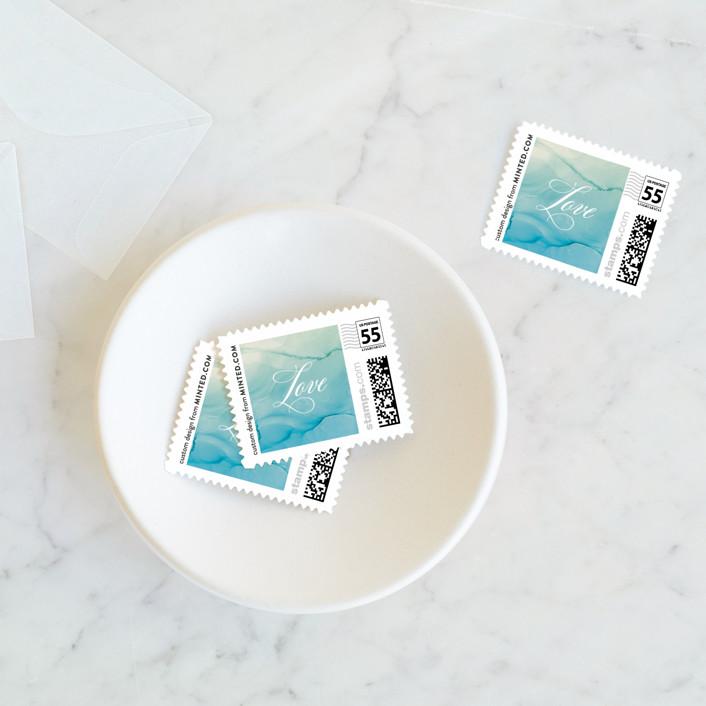 """""""Ombio"""" - Wedding Stamps in Aqua by GeekInk Design."""