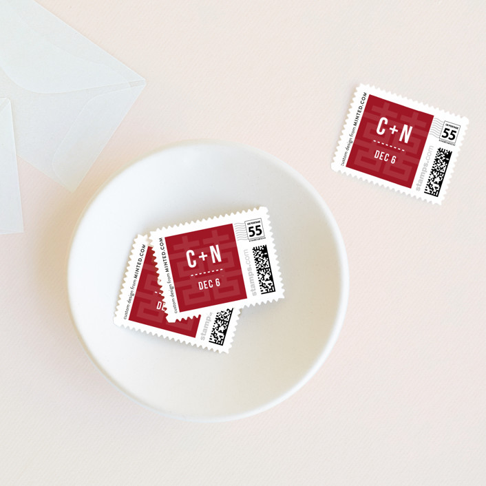 """Double Happiness Seal"" - Modern Wedding Stamps in Carmine by Guess What Design Studio."