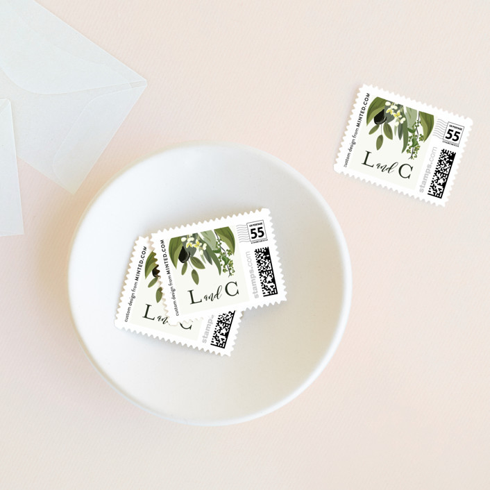 """Olive Vine"" - Wedding Stamps in Linen by Susan Moyal."