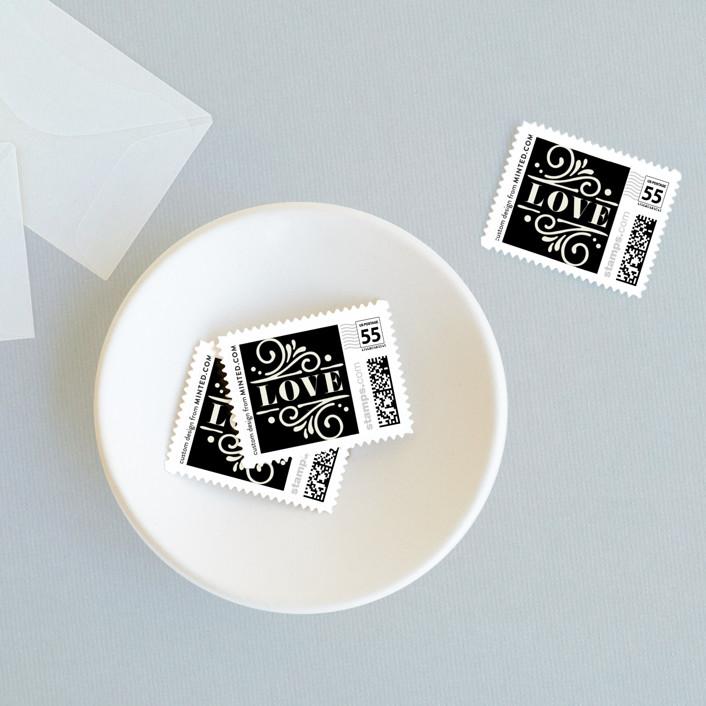 """Ornately"" - Wedding Stamps in Onyx by GeekInk Design."