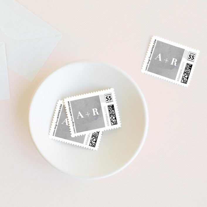 """Sophisticate"" - Wedding Stamps in Slate by Hooray Creative."