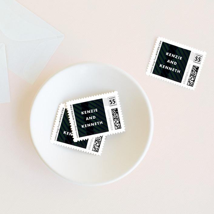 """""""Black Watch"""" - Modern, Preppy Wedding Stamps in Black Tartan by Jennifer Wick."""