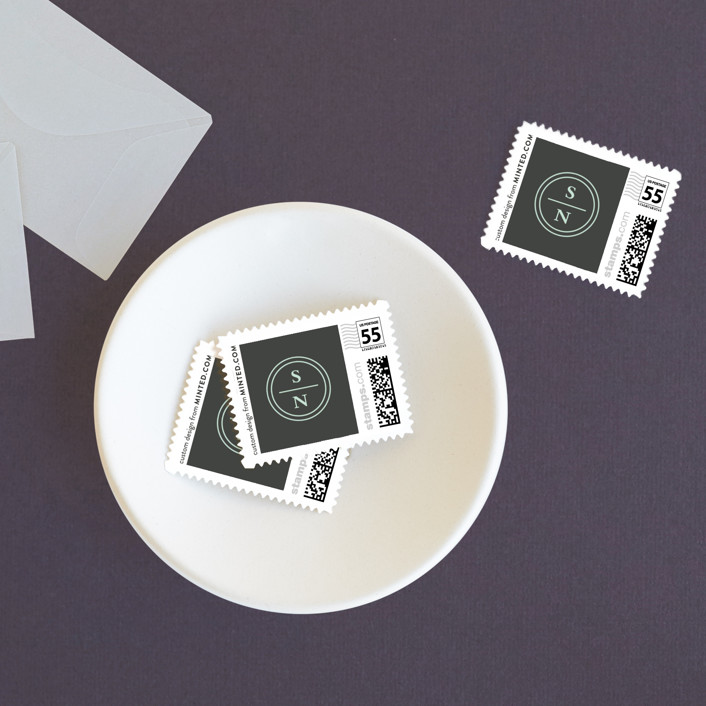 """Notable"" - Modern, Preppy Wedding Stamps in Robins Egg by Olivia Raufman."