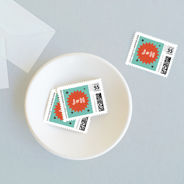 """""""MidCentury Poster Board"""" - Wedding Stamps in Tangerine by Coco and Ellie Design."""