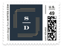 This is a blue wedding stamp by Creo Study called Dolce with standard printing on adhesive postage paper in stamp.