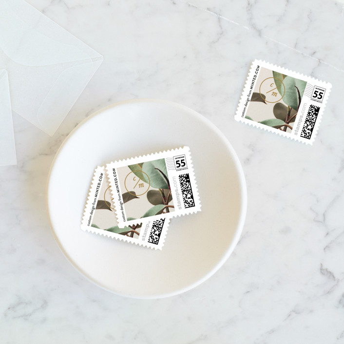 """Powder Room Florals"" - Wedding Stamps in Cream by Ariel Rutland."