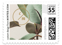 This is a brown wedding stamp by Ariel Rutland called Powder Room Florals with standard printing on adhesive postage paper in stamp.
