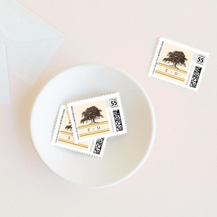 """Oak Tree"" - Rustic Wedding Stamps in Butterscotch by annie clark."