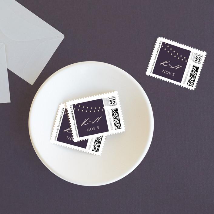 """Midnight Vineyard"" - Bohemian, Rustic Wedding Stamps in Deep Eggplant by Design Lotus."