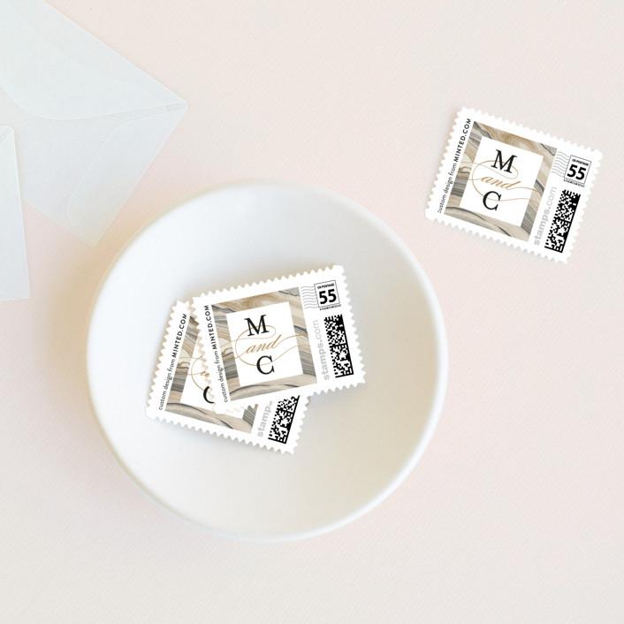 """Elegant Marble"" - Bohemian Wedding Stamps in Marble by Liz Conley."