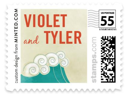 BLOCK PRINT WAVES Wedding Stamps
