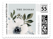 This is a blue wedding stamp by Chris Griffith called Nantucket Romance with standard printing on adhesive postage paper in stamp.