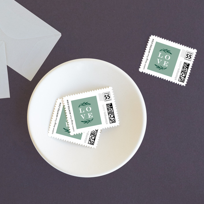 """""""Elegant Crest"""" - Wedding Stamps in Forest Green by Alethea and Ruth."""