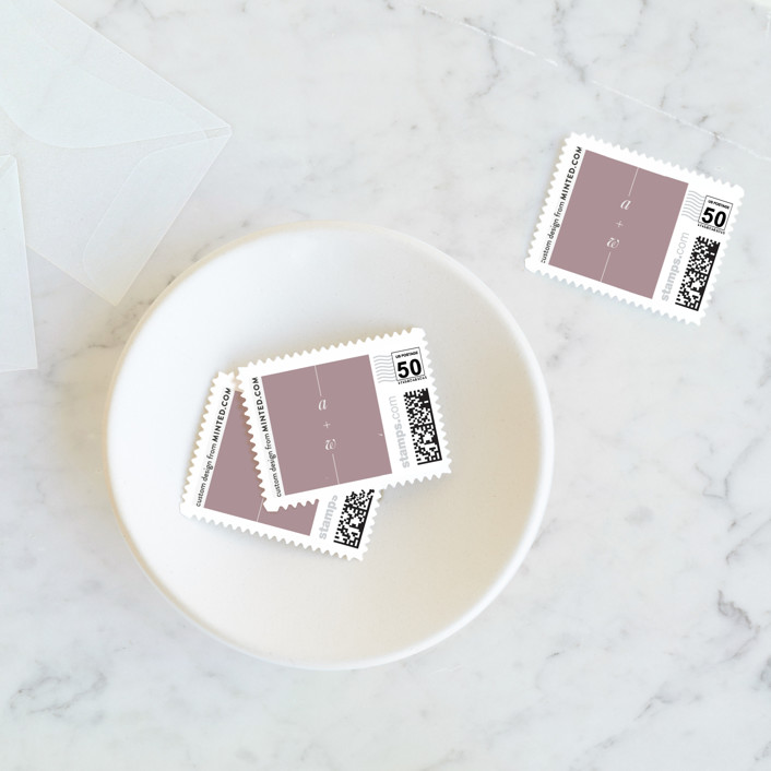 """""""Simply Cannot Wait"""" - Wedding Stamps in Mauve by Saltwater Designs."""