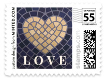 This is a blue wedding stamp by GeekInk Design called Mosaic with standard printing on adhesive postage paper in stamp.