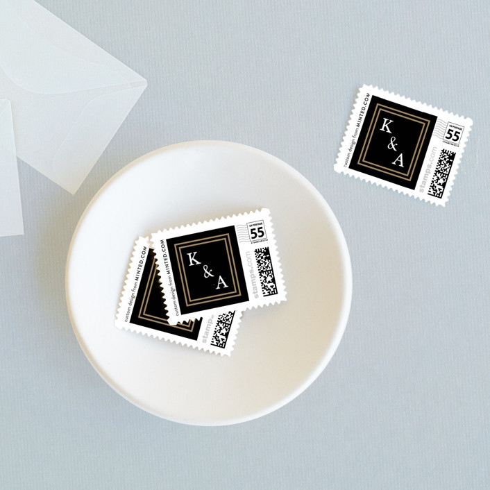 """""""New York Skyline"""" - Destination, Classical Wedding Stamps in Onyx by WHALEN."""
