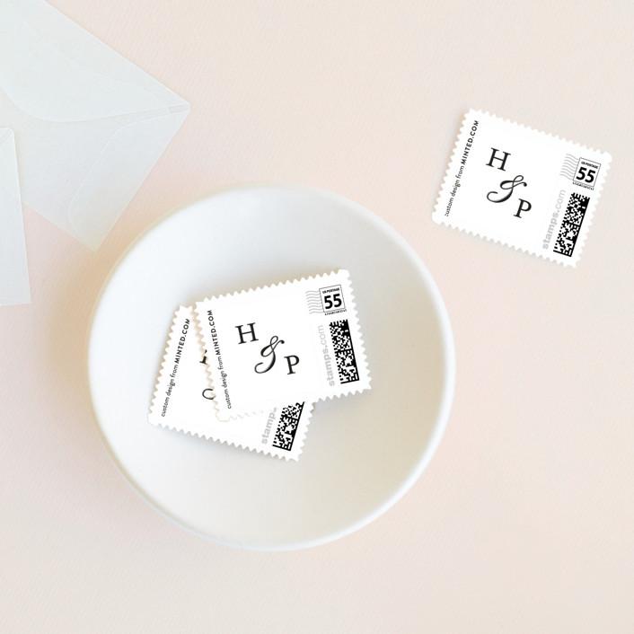 """Lineup"" - Modern Wedding Stamps in Linen by Annie Shapiro."