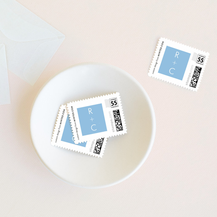 """""""This Is Happening"""" - Minimalist, Simple Wedding Stamps in Ocean Blue by Eric Clegg."""