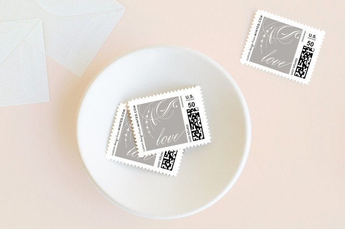 """""""delicate swashes"""" - Vintage Wedding Stamps in Taupe by Aspacia Kusulas."""