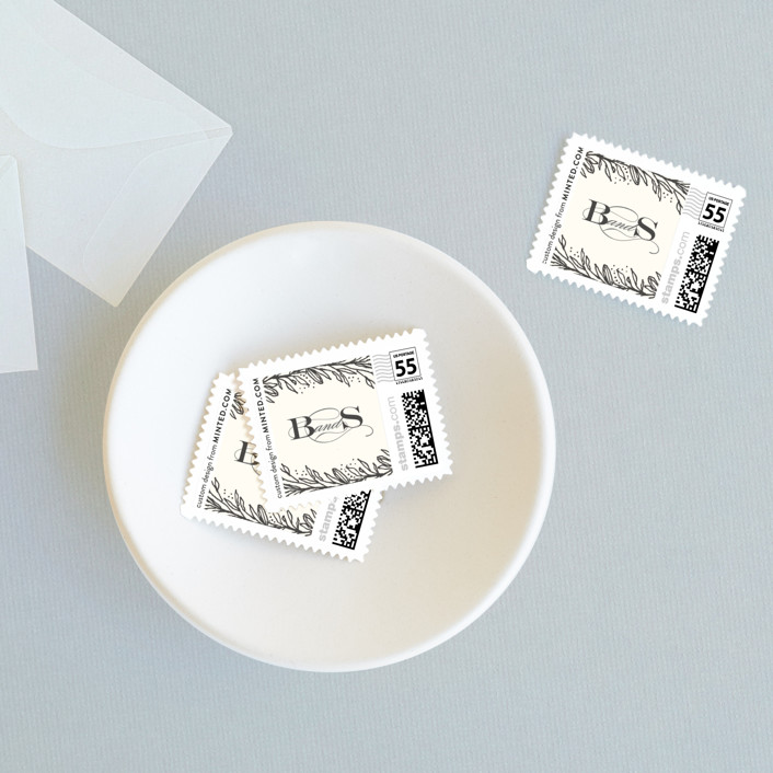 """""""Classic Branches"""" - Wedding Stamps in Cream by Grace Kreinbrink."""