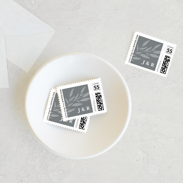 """""""Kindly Save Our Date"""" - Wedding Stamps in Snow by Laura Hamm."""