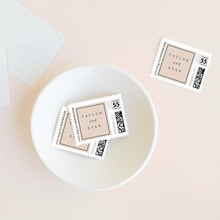 """XOXO"" - Wedding Stamps in Blush by Baumbirdy."