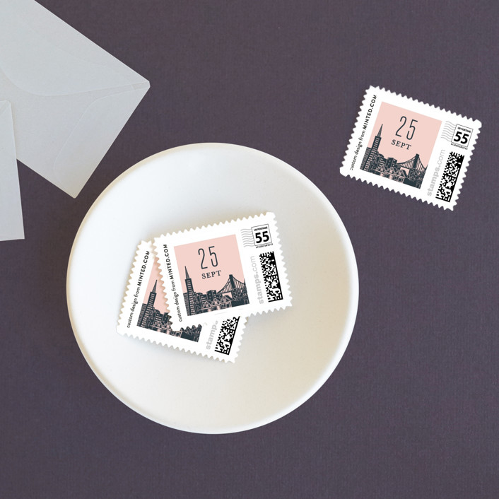 """Big City - San Francisco"" - Wedding Stamps in Blush by Hooray Creative."