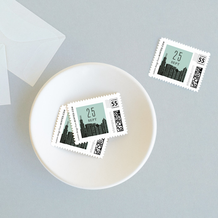 """""""Big City - Chicago"""" - Wedding Stamps in Mint Green by Hooray Creative."""