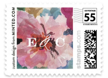 This is a pink wedding stamp by Grace Kreinbrink called Gilded Drape with standard printing on adhesive postage paper in stamp.