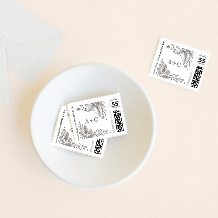 """Garden Flowers"" - Wedding Stamps in Warm Grey by Yuliya Evseeva."