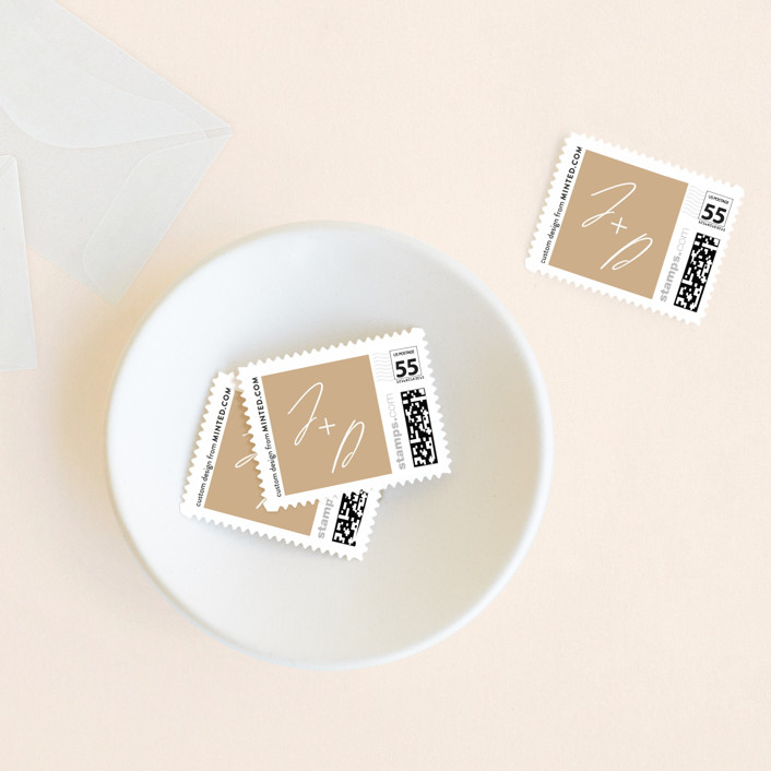 """Metropolitan"" - Wedding Stamps in Indigo by Everett Paper Goods."