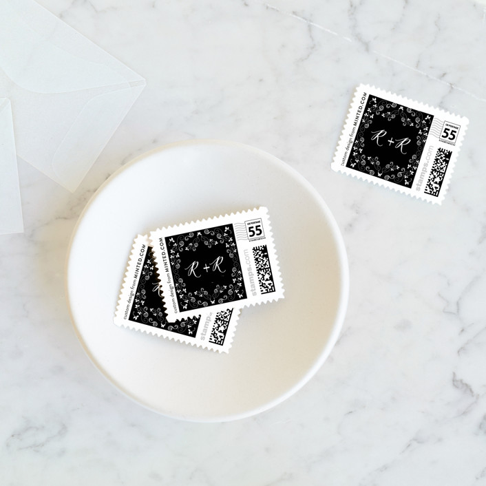 """Let's Get Married"" - Rustic Wedding Stamps in Noir by Chris Griffith."