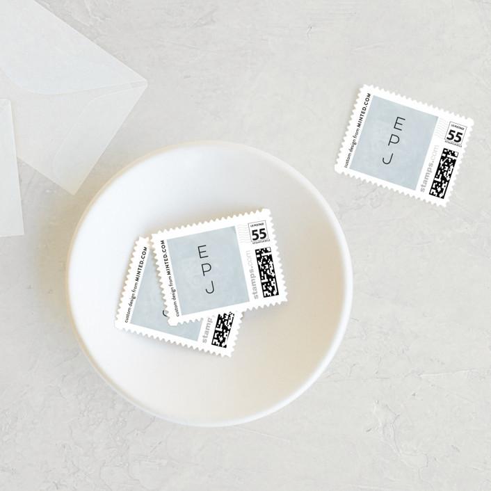 """""""Grande Botanique"""" - Wedding Stamps in Mist by Bonjour Paper."""