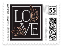 This is a rosegold wedding stamp by GeekInk Design called Halcyon with standard printing on adhesive postage paper in stamp.