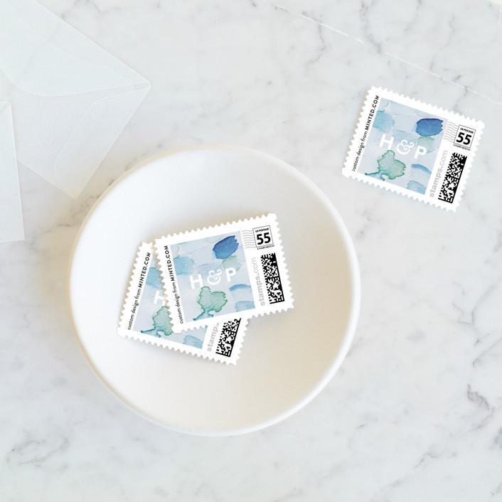 """Sea Glass"" - Wedding Stamps in Ocean by Hudson Meet Rose."
