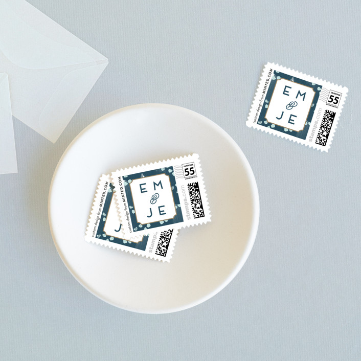 """""""Gallery Label"""" - Wedding Stamps in Marine by Ashley Hegarty."""