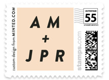 This is a pink wedding stamp by Up Up Creative called With Great Joy with standard printing on adhesive postage paper in stamp.