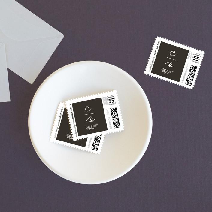 """""""Love Letter"""" - Modern Wedding Stamps in Espresso by annie clark."""