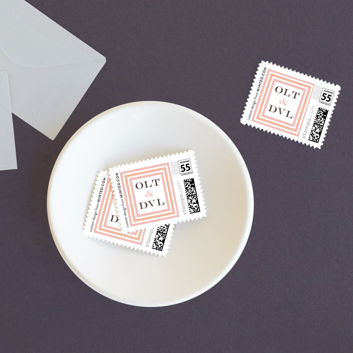 """Float + Sweetie Stripe"" - Modern Wedding Stamps in Peach Coral by Float Paperie."