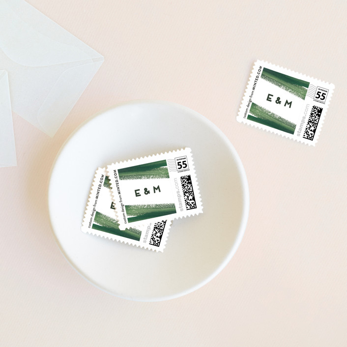 """""""Evergreens Watercolor"""" - Wedding Stamps in Forest by Yao Cheng Design."""