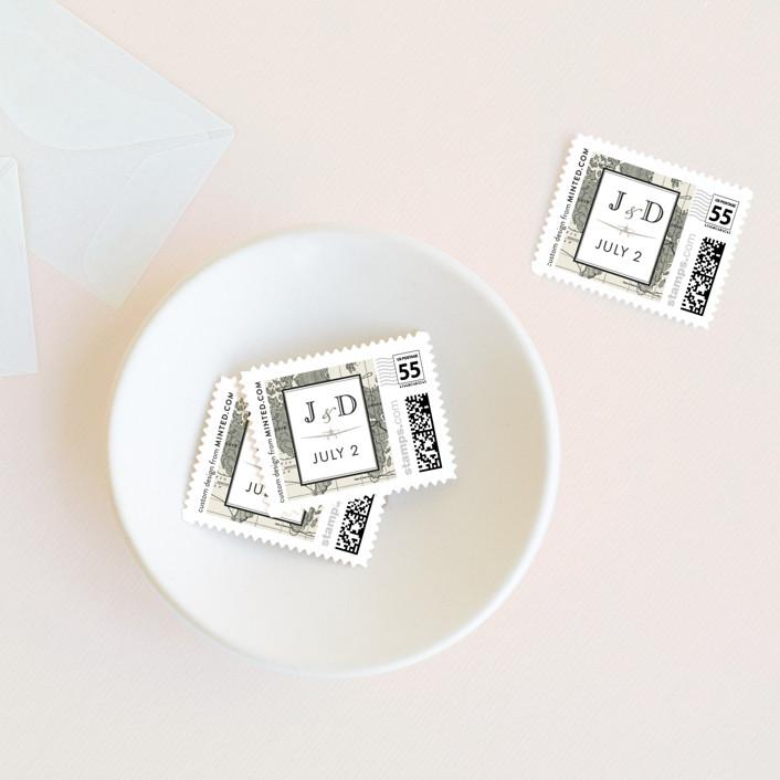 """Edenbridge"" - Wedding Stamps in Light Cream by Dauphine Press."