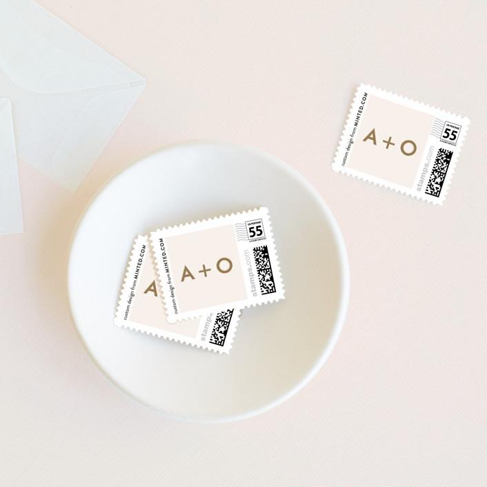"""desert chic"" - Modern Wedding Stamps in Blush by AK Graphics."