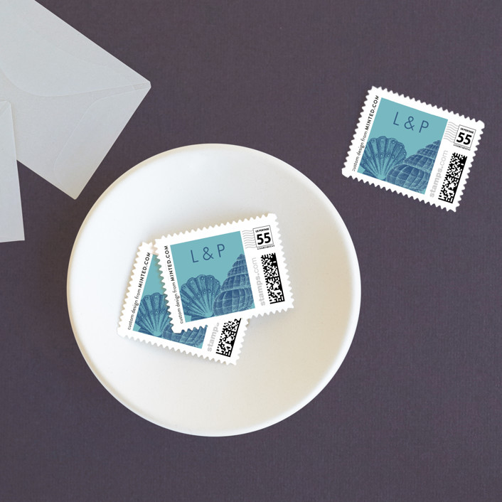 """By The Sea"" - Wedding Stamps in Columbia Blue by Splendid Press."